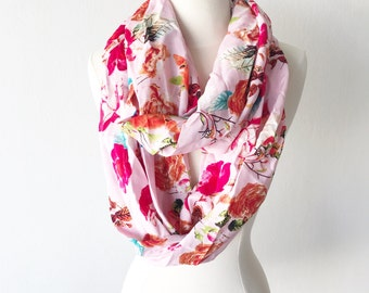 Blush Floral Print Rayon Infinity Scarf - Gift for her, Mothers Day, Birthday, anniversary, summer, spring