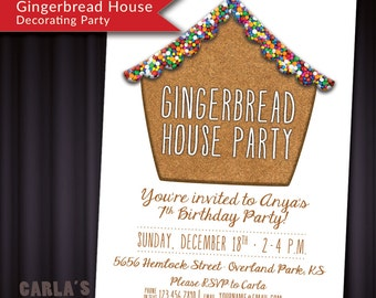 Gingerbread House PRINTABLE Invitation with Cookie & Sprinkle Texture! Fun invite for your Christmas Get-Together or Kids Holiday Party!