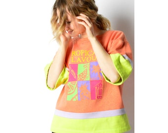 Vintage 80s Colour Block Peach Tropical Sweatshirt T-Shirt 24_220217_G
