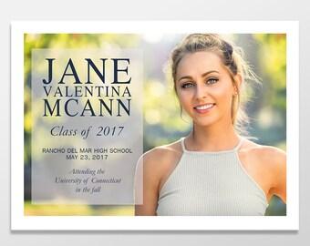 senior graduation photo announcement cards personalized graduation announcements customprintable or printed 5x7 girl - Personalized Graduation Invitations