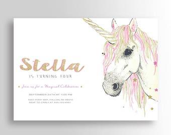 Unicorn Party Invitation - Glitter Unicorn Invitation