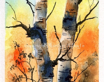 ORIGINAL WATERCOLOR ACEO card; autumn, twin birches, 2.50 x 3.50 inches, miniature, white border, artist's trading cards, collectible,