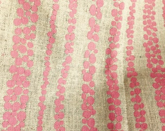 Fabric panel - Elemental Rain in Pink on 55/45% Linen/Cotton (Screen printed)