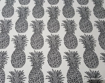 Flannel Fabric - Black White Pineapples - 1 yard - 100% Cotton Flannel