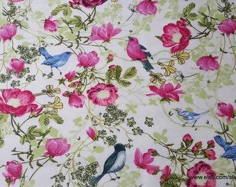 Flannel Fabric - Birds in Flowers - 1 yard - 100% Cotton Flannel
