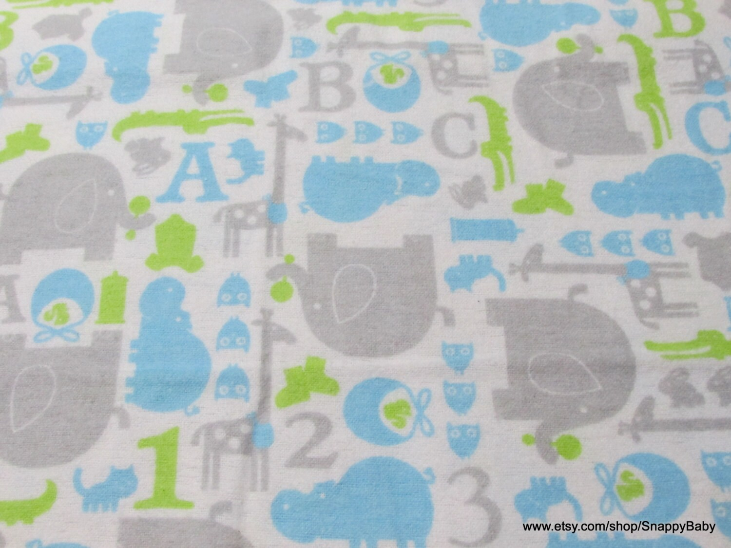 Flannel fabric baby animals blue on white by the yard for Baby fabric by the yard