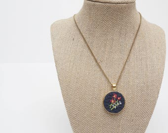 Lovely Hand Embroidered Pendant Necklace - Antique Bronze & Navy - Floral - Vintage Style