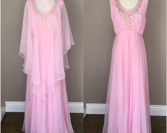 Vintage 1960s Jack Bryan Dress Pink Beaded Maxi Gown Sheer Cape Formal Evening