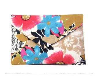 Multicolored Suede Floral Envelope Clutch Bag | Candy Chokers Set