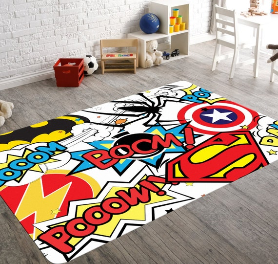 Boys Superhero Room Decor: Superhero Rug Playroom Rug Superhero Room Decor Kids
