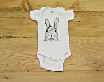 Rabbit Sketch Onesie- Bunny Onesie- Bunny Bodysuit- Baby Bunny Onesie- Baby Onesie