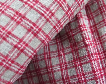 ANTIQUE 1870/00 rarity! hand-woven linen duvet cover farmers, used original! rural rustic bed pillow, red+white, blanket