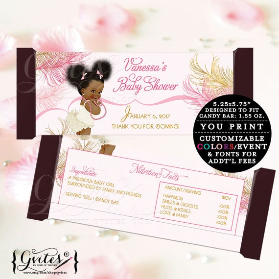 Candy Bar labels printable Baby Shower chocolate bar party favors, wrappers, gold and pink, elegant, vintage ethnic baby girl.  2-Per/Sheet