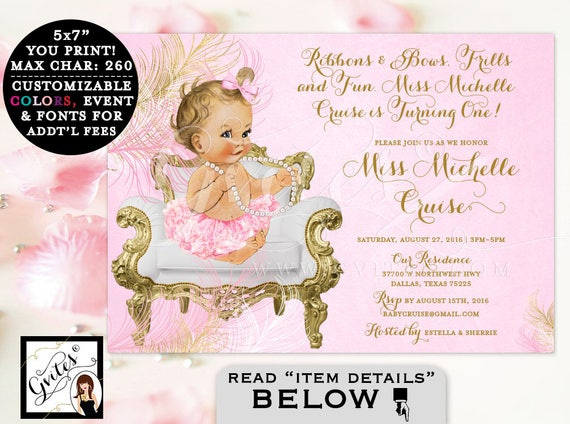 Pink & Gold First BIRTHDAY invitation, Ribbons and bows, frills and fun turning one, baby girl tutu invite, ruffles bows, PRINTABLE 7x5.