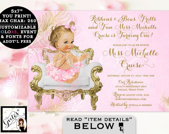 Pink and Gold First Birthday Invitation, vintage printable baby girl, white gold and pink, digital invites, 7x5, ribbons bows frills and fun