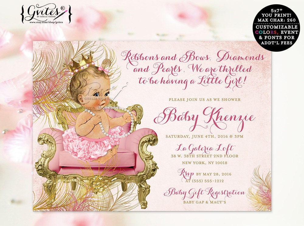 Blush pink and gold royal princess baby shower invitations ...