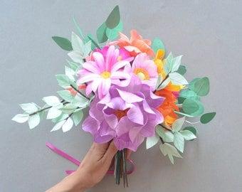 Paper bouquet - Flower arrangement - Paper flowers - Home decor -Wedding bouquet- Anniversary gift - Birthday gift