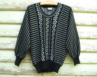 70s Vintage Black and Silver Metallic Sweater Tribal Retro Knitted Jumper Batwing Hippie Boho 1970s Vtg Size S-M