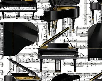 """Grand Piano Music Fabric -  Quilting Cotton - 45"""" wide [[fat quarter//half hard//by the yard]]"""
