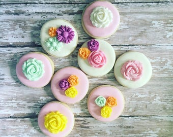 Mini whimsical, boho cookies sugar, flower cookies