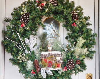 Large Wreath/Christmas/Holiday/WinterScene/VillageHouse/OOAK/Handmade/