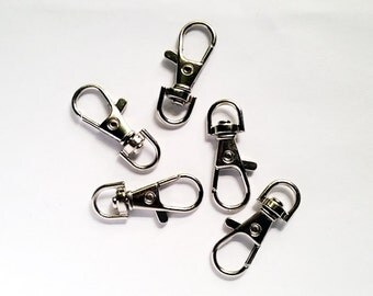 5 Silver Tone Lobster Clasp Swivel Key Ring 37mm x 16mm Jewelry Findings STLCSKR37MM-5WD2