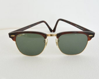 Vintage Ray-ban Sunglasses Bausch & Lomb  Clubmaster Tortoise Shell Retro Ray-Ban Authentic