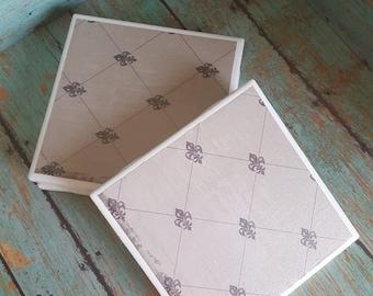 Vintage-Rustic inspired coasters-Ceramic Tile Coasters - Coaster Set - Table Coasters  - Tile Coaster -  Coasters for Drinks