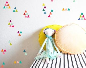 Wall Decal - Extra Tiny Triangles Rainbow - Wall Sticker Room Decor