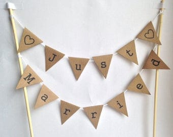 WEDDING Just Married CAKE BUNTING Rustic Vintage Topper Decoration Manila
