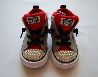 I-7 Unisex infant grey and red low top Converse with white rhinestones