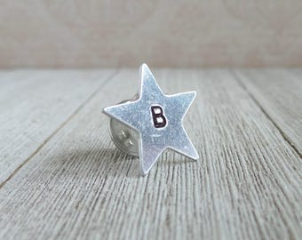 Silver Star -Initial Stamped - Personalized - Custom - Wedding Party - Remembrance - Hand Stamped **PLEASE INCLUDE INITIAL**