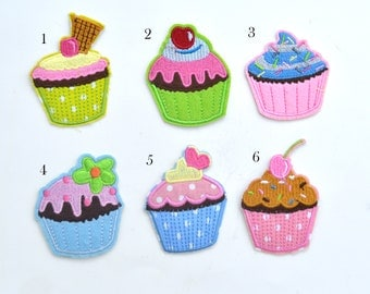 Colorful Dessert Cupcake Embroidered Bulk Iron On Patch Applique CD033017