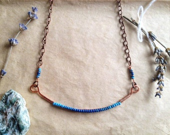 Aquarius // Turquoise Ombre Beaded Necklace, Hammered Copper Necklace, Hand Forged Copper Necklace, Ombre Jewelry, Ombre, Bar Necklace