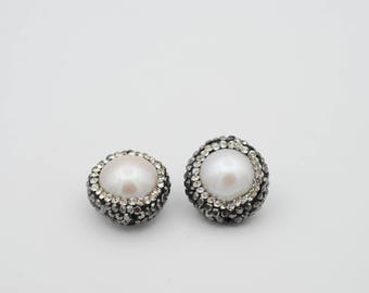 2 pc Cultured peark with  CZ  pave  bead