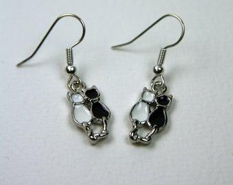 Artisan Cat Earrings, black and white, ebony and ivory, two cats, silver, love