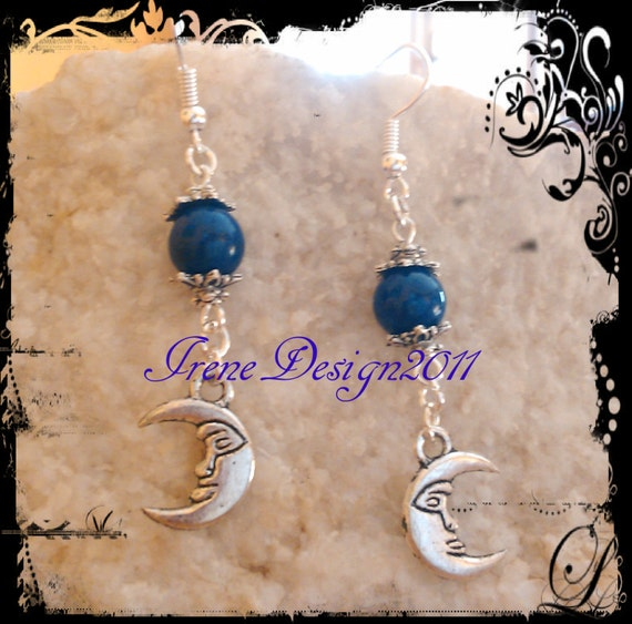 Handmade Silver Hook Earrings with Lapis Lazuli & Moon by IreneDesign2011