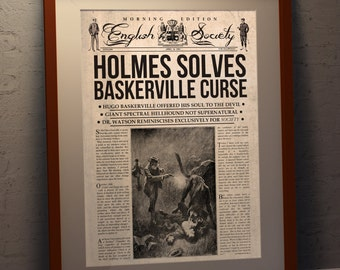 Sherlock Holmes Retro Newspaper - The Hound of the Baskervilles (A3 poster print)