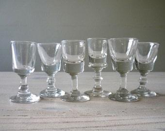 Set of 6 antique shot glasses, mismatched liquor glasses, vintage barware, 1900 shot glass