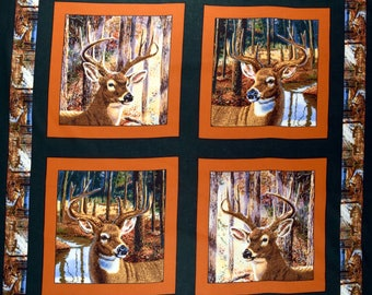 Deer Fabric Pillow Panel Buckaroo 100% Cotton Sold By the Panel