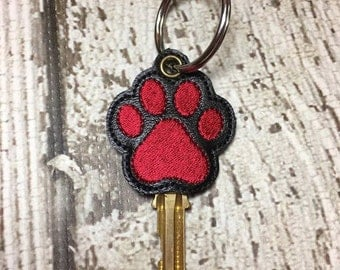 Paw Print Key Sleeves - Key Covers - Dog - Cat-  Rescue - Digital Embroidery Design
