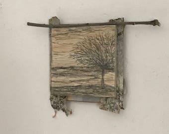 Tiny Wall Art, Small Space Decor, Modern Rustic, Nature Inspired Home, Tree Sketch, Farmhouse, Primitive, Etching, Wood, Gift For Him, Dad