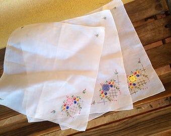 Flower handkerchief, Embroidered Handkerchief, Fine Cotton Voile, Flower Embroidered, Embroidered Hankie, Ladies Handkerchief, Bridal hankie