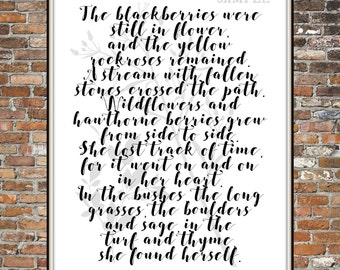 SHE FOUND HERSELF, A Found Poem, Vintage Book page, gathered poem, Poemtry, Nature Poem, Print, Printable Art, For the Home