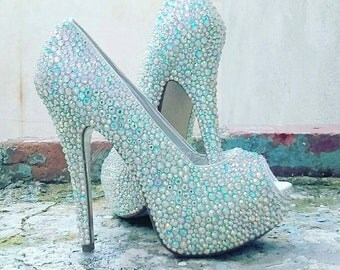 Crystal Peep Toe Shoe's, Crystal Wedding Shoes, Peep Toe Wedding Shoes, Crystal Shoes, Wedding Shoes, Strass Heels, Strass Bridal Shoes