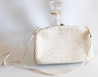Vintage minaudière, white clutch