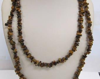 Vintage Sterilng Silver Tigereye Beaded Necklace W #712