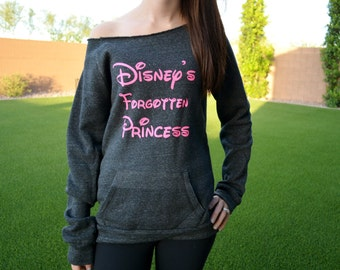 Disney Princess Sweatshirt. Disney Sweatshirt. Princess Sweatshirt. Disney Sweater. Off the shoulder sweatshirt. Black grey pink.