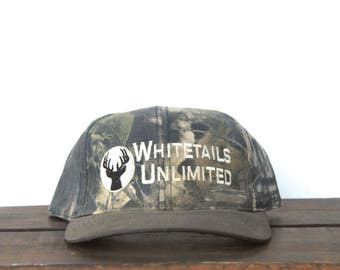 Vintage 90's Camo Camouflage Whitetails Unlimited Deer Hunting Buck Snapback Hat Baseball Cap