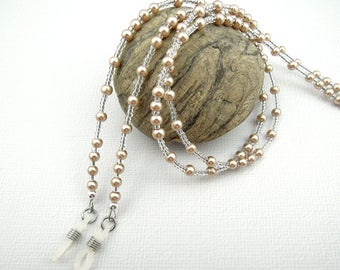 Beaded Eyeglasses Chain, Beige Glass Pearls, White Rubber Loops to Hold Glasses, Readers or Sunglasses Lanyard Necklace, Neutral Lightweight